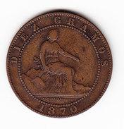 ESPAGNE KM 663 10ct 1870.   (DP67) - Monnaies Provinciales