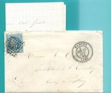 M22  :  LOSANGE GC 2602 TAD NANTES 11 OCT 1869 SUR NAPOLEON N° 22 SUR LETTRES AVEC CORRESPONDANCE CACHET CIRE AU DOS - Postmark Collection (Covers)