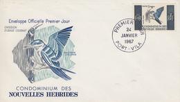 Enveloppe FDC  1er Jour   NOUVELLES  HEBRIDES   Oiseau  : Alcyon  Chloris   1967 - FDC