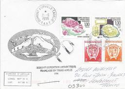 TAAF 1996 Dumont D'Urville Mineral Garnet Olivine Expedition Cover - Mineralen