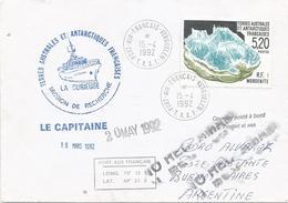 TAAF 1992 Port Aux Francais Mineral Mordenite Expedition Cover Via Argentina - Mineralen