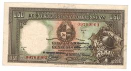 Uruguay, 50 Centesimos, 1935, XF, Rare.   Free Ship. To USA. - Uruguay