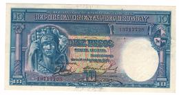 Uruguay, 10 Pesos, 1935, XF, Rare.   Free Ship. To USA. - Uruguay