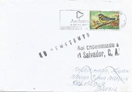 Andorra 1996 Great Tit (Parus Major) Returned Unclaimed Instructional Handstamp Cover Brasil Brazil Via El Salvador - El Salvador
