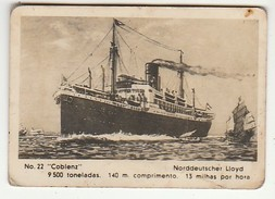 Old Tobacco Colectible Card * Sociedade Industrial Dos Tabacos De Angola, Lda. * Nº22 * ''Coblenz'' - Barcos