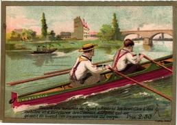 4 Trade Cards Chromo  Rowing Canot Regatta Skiff Sculling Pub Orléans Choc Ibled Chevalier Paris Imprimeur  APPEL C1890 - Remo