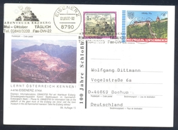 Austria 2002 Postal Stationery Card; Eisenerz Minerals Mine Surface Mining Iron Ore; Architecture Schlosberg Graz - Minerali