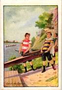4 Trade Cards Chromo Rowing Canotage Regatta Skiff Sculling  Pub Bruxelles Lille  Choc Guérin Boutron ImpHérold Mertens - Aviron