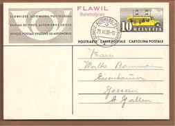 Schweiz Ganzsache Automobil-Postbureau.Sstpl 28.6.38 FLAWIL BAHNHOFPLATZ - Interi Postali