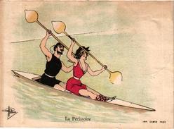 1 Trade Cards Chromo Rowing Canotage Regatta Skiff Sculling La Perissoire Illust Guillaume Imp Camus Paris - Aviron