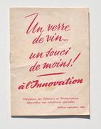 Guide Tarifaire Des VINS Des Grands Magasins L'INNOVATION - édition Septembre 1953 - Autres Collections
