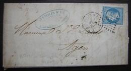 1860 Ligugé  (Vienne) Lettre Hambris Pour Agen, Cachet Bordeaux à Paris - Postmark Collection (Covers)