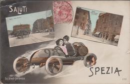 SPEZIA-Carte Fantaisie 2 Vues + Voiture De Course Stylisée  1912  (défauts) - La Spezia