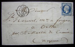 1856 Lettre De Saint Lo Pour Les Forges D'Orthe Par Saint Martin De Connée (Mayenne) - Postmark Collection (Covers)