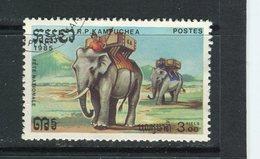 KAMPUCHEA - Y&T N° 521° - Transport à Dos D'éléphants - Kampuchea