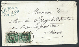 Envel Affr N°30 X2 Dc WASMES/1873 + Boîte Rurale Z Pour Mons - 1869-1883 Leopold II