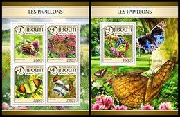 DJIBOUTI 2016 - Butterflies, M/S + S/S. Official Issue - Butterflies
