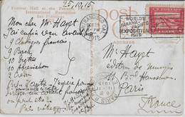 ETATS-UNIS - 1915 - YVERT N°196 SEUL Sur CARTE De La WORLD'S PANAMA PACIFIC EXPOSITION Avec MECA SAN FRANCISCO => PARIS - Covers & Documents