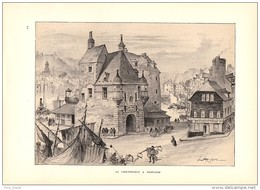 Albert ROBIDA Lithographie Originale : La Lieutenance à Honfleur 1891 - Lithographies