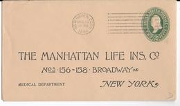 ETATS-UNIS - 1894 - ENVELOPPE ENTIER POSTAL Avec REPIQUAGE De NEW HAVEN => NEW-YORK - ...-1900