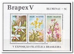 "Brazilië 1982, Postfris MNH, National Stamp Exhibition ""Brabex V"" In Blumenau, Santa Catarina, Orchids - Ongebruikt"