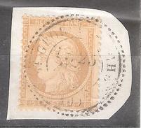 Fragment Avec Cachet Perlé De ST SAINT GEORGES Sur CHER, Loir Et  Cher Indice 13 ,sur CERES N° 59, 15 C Bistre, TB - 1871-1875 Cérès