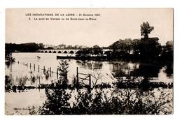45 -  LES INONDATIONS DE LA LOIRE . ORLEANS . LE PONT DE VIERZON VU DE SAINT-JEAN-LE-BLANC - Réf. N°100 - - Orleans