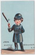 RARE ANTIQUE CHROMO LITHO TRADE CARD AD, NEW YORK, ATKINS HATTER, Greenwich St. - Other