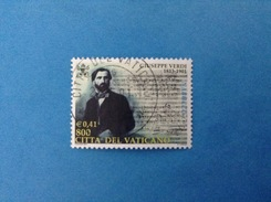2001 VATICANO FRANCOBOLLO USATO STAMP USED - Giuseppe Verdi Da 800 Lire 0,41 - - Vaticano