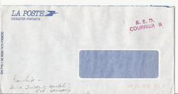 Enveloppe Des Chèques Postaux Avec Cachet S.E.D. COURRIER B (rouge) - Franchise - Documentos Del Correo