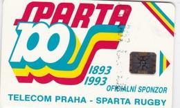 Czechoslovakia, CS-CSF-PUB-0016B, Sparta Praha Rugby - 100 Let, 2 Scans.    Chip : SC5  SB  Light Blue Back - Czechoslovakia
