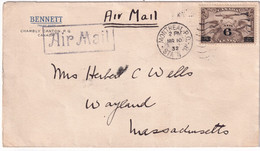 CANADA - 1932 - POSTE AERIENNE - ENVELOPPE De MONTREAL => WAYLAND (USA) - Covers & Documents