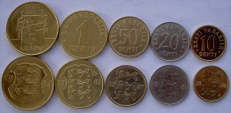 ESTONIA SERIE 5 MONETE 5- 1 CORONE 50-20-10 SENTI  FDC - Estonia