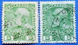 AUSTRIA 2 X 5 H.1908 Mic.142 FRANZ JOSEPH (DIFFERENT COLOURS) - USED - 1850-1918 Imperium