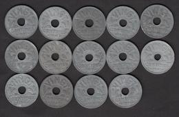 20 Centimes Etat Français En Zinc - Lot De 14 Pièces De 1941 (vingt) - Voir Descriptif - E. 20 Centimes