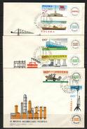 POLAND FDC 1966 20TH ANNIV INDUSTRY NATIONALISATION Ships Tanker Trains Railways Power Station Flags Farm Harvester Food - Schiffe