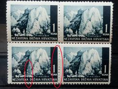 LANDSCAPES-VELEBIT-1 K-BLOCK OF FOUR-ERROR-LINE-NDH-CROATIA-1941 - Kroatien