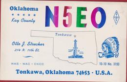 QSL Card Amateur Radio Station Oklahoma Kay County Tonkawa USA American Indian Native - Radio Amateur