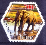Tchad MNH, Odd Unusual Hexagoan, Elephants, Wild Animals - Elephants