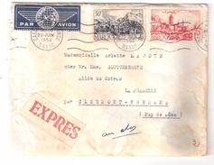 Lettre CASABLANCA BOURSE Par Avion EXPRES , Yvert N° 262 A + 293 , Mention Facteur Absent > LA PRADELLE Puy De Dôme 1950 - Marokko (1891-1956)