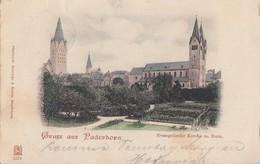 AK Gruss Aus Paderborn Evangel. Kirche Mit Dom Color Gelaufen 29.9.1899 Nach Detmold - Paderborn