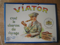 "Ancien Glaçoïde Publicitaire Original  - J.G ROOTHANS, BREE - Cigares, Tabacs ""VIATOR"" - Lithographie PHOBEL, BRUXELLES - Paperboard Signs"