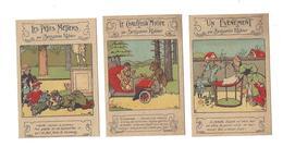 """BENJAMIN RABIER 3 Images Publicité Crème Franco-Russe """" Un Evènement """" """" Le Chauffeur Myope """" """" Les Petits Métiers """" - Vieux Papiers"""