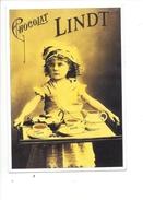16319 - Chocolat Lindt Fillette Avec Plateau De Service  Reproduction D'affiche - Publicité