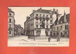 * CPA..dépt 71..CHALON Sur SAONE : Rue Et Place Du Port Villiers   : Voir 2 Scans - Chalon Sur Saone