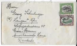 "SWA - 1950 - ENVELOPPE De KONDOUZ => LANGEN (GERMANY ZONE AMERICAINE) - ""REICH"" GRATTE APRES ""DEUTSCHES"" - Südwestafrika (1923-1990)"