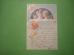 Deux Petits Anges Et Coquelicots, Timbre 1901  (S1) - Anges