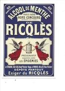 16331 - Alcool De Menthe De Ricqlès Paris 1900 Anges  Préservatif Souverain Contre Les Epidémies Reproduction D'affiche - Publicité