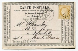 !!! CARTE PRECURSEUR CERES CACHET DE JOIGNY (YONNE) 1874 - Cartoline Precursori