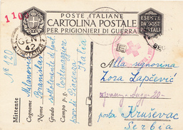 WWII 1942 ITALIA-SERBIA , PRISONER OF WAR ,RED CROSS - Serbia